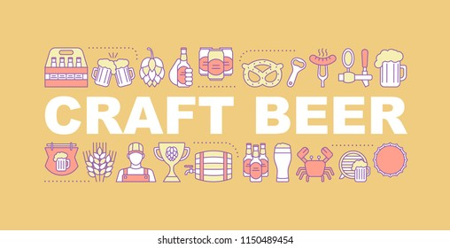 Craft beer word concepts banner. Pub. Brewery. Isolated lettering typography idea with linear icons. Craft brewing. Microbrewery. Vector outline illustration