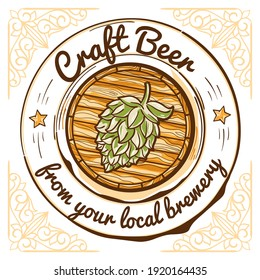 Craft beer from your local brewery - wooden barrel decorative drawn emblem
