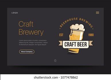Craft brewery or pub website template. Beer glass web banner. Vintage retro illustration. Home page concept. UI design mockup.