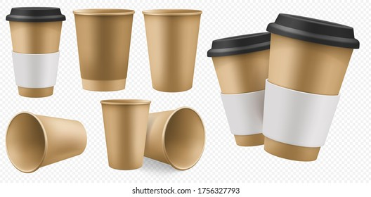 Craft cup paper. Blank brown coffee cup template with cardboard holder and plastic lid. Takeaway craft pack set for hot drink mockup isolated on transparent background. Disposable takeout cafe package