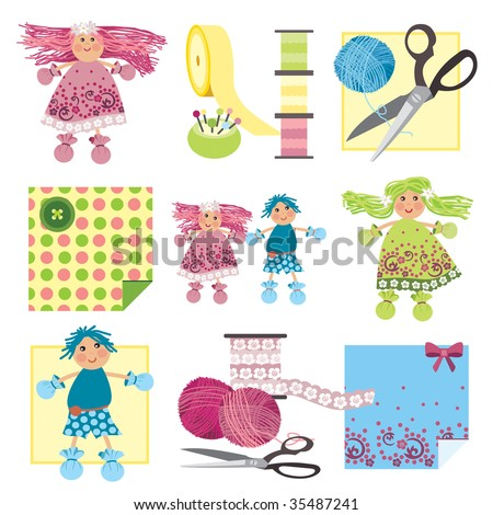 Craft Icons Rag Dolls Icons Sewing Stock Vector Royalty Free