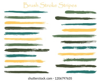Craft ink brush stroke stripes vector set, green horizontal marker or paintbrush lines patch. Hand drawn watercolor paint brushes, smudge strokes collection. Interior colors guide book swatches.