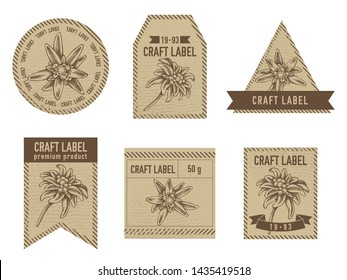 Craft labels with edelweiss stock illustration