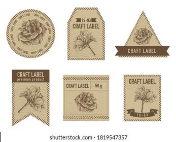 Craft labels vintage design with illustration of amaryllis