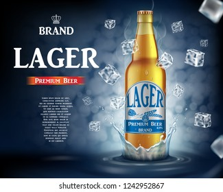 Craft lager beer ads with splashing. Realistic glass beer bottle with flying ice cubes on shiny blue background. Vector 3d illustration