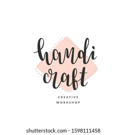 Craft logo template for creative master class or workshop. Elegant calligraphy, modern and simple lettering logotype with abstract backdrop. good for crafty studio or blog