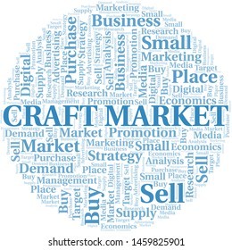 Craft Market word cloud. Vector made with text only