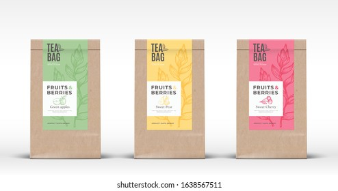 Craft Paper Bag with Fruit and Berries Tea Labels Set. Abstract Vector Packaging Design Layout with Realistic Shadows. Hand Drawn Apple, Pear and Cherry Silhouettes Background. Isolated.