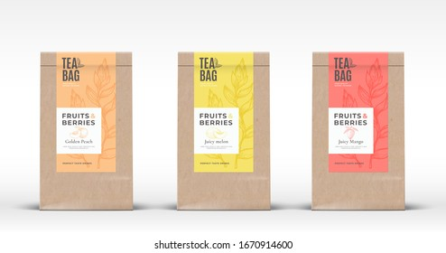 Craft Paper Bag with Fruit and Berries Tea Labels Set. Abstract Vector Packaging Design Layout with Realistic Shadows. Hand Drawn Peach, Melon and Mango Silhouettes Background. Isolated.