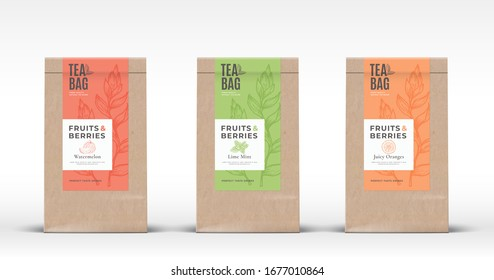 Craft Paper Bag with Fruit and Berries Tea Labels Set. Abstract Vector Packaging Design Layout with Realistic Shadows. Hand Drawn Watermelon, Orange and Mint Branch Silhouettes Background. Isolated.