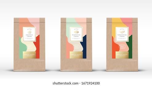Craft Paper Bag with Nut and Citrus Chocolate Labels Set. Abstract Vector Packaging Design Layout. Hand Drawn Oranges, Tangerine and Pistachio Sketch Silhouettes Background. Isolated.