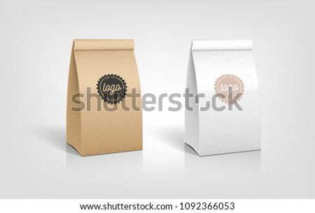 Craft Paper Bag Packaging Illustration Template Stock Vector