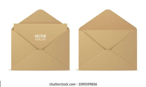 Craft paper vector envelopes, isolated on a white background. Set of realistic brown opened envelope mockups.