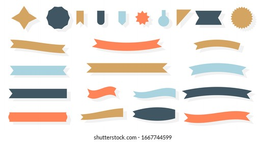 Craft ribbon flat set. Decorative vintage paper banner. Empty simple ribbons template different shape. Blank retro flag, tape for text, price tag, sale label. Isolated on white vector illustration