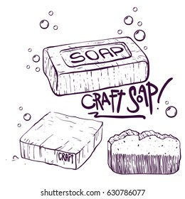 Craft Soap illustrations set. Doodle style with bubbles vector.