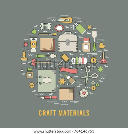 Craft Supplies Poster Template Flyer Banner Stock Vector Royalty