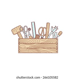 Craft tools in toolbox vector illustration on white background