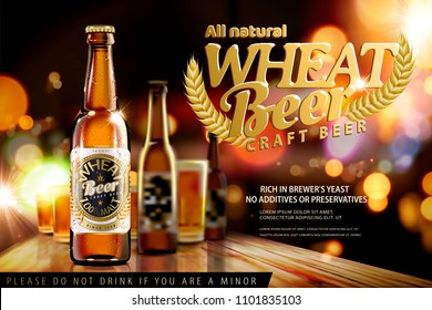 Craft wheat beer on bokeh night bar background in 3d illustration