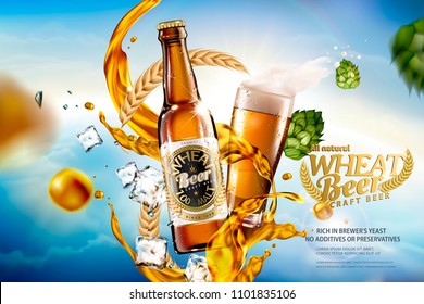 Craft wheat beer with splashing liquid and ingredients on bokeh blue sky in 3d illustration