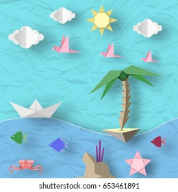 Crafted Ship, Island, Birds, Clouds, Sun and Underwater Animals. Style Paper Origami Word. Cut Elements and Symbols for Travel. Summer Landscape. Cutout Abstract Made. Vector Illustrations Art Design.