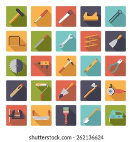 Crafting Tools Flat Design long shadow Vector Icons Collection. Set of 25 DIY and workshop related symbols in rounded squares.