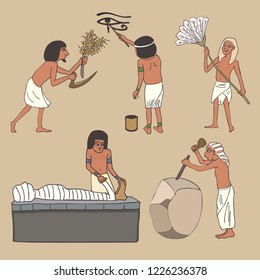 crafts and professions in ancient Egypt, cartoon set of five popular ancient activities