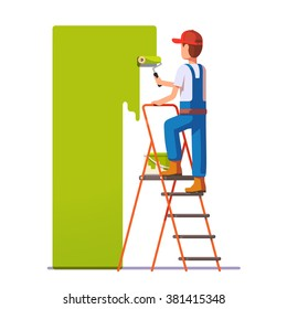 Craftsman painting white wall with roller green paint. Flat style modern vector illustration.