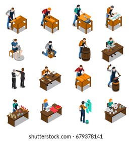 Craftsman set of isometric icons with carpenter blacksmith potter artist painter tailor and shoemaker isolated vector illustration