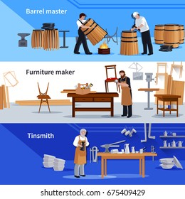 Craftspeople at work 3 flat banners collection with tinsmith cooper barrels an furniture maker isolated vector illustration