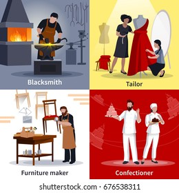 Craftspeople at work 4 flat icons square composition poster with tailor blacksmith furniture maker isolated vector illustration