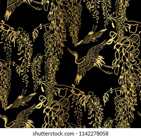 cran bird wisteria vector seamless japanese chinese pattern gold black traditional
