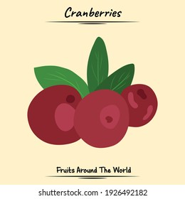 Cranberries Fruits Illustration Used For Ingredients Some Food And Drink, Graphic Element, Fruit Book Asset