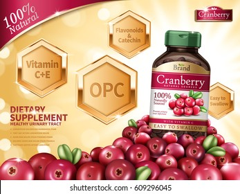Cranberry dietary supplement contained in bottle with fresh fruits on golden bokeh background in 3d illustration