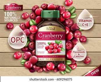 Cranberry dietary supplement contained in bottle with fresh fruits on wooden background in 3d illustration