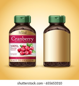 cranberry dietary supplement package design, isolated golden background, 3d illustration