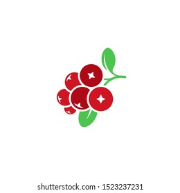 Cranberry. Logo. Red berries. Isolated cranberry with leaves on white background