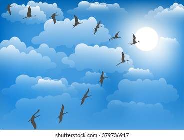 Crane against the sky. Vector illustration.