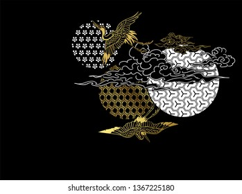 crane bird circles clouds japanese chinese vector design pattern card  black gold