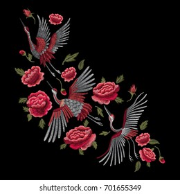 Crane bird, flowers, rose, plant. Traditional folk stylish stylish embroidery on the black background. Sketch for printing on clothing, fabric, bag, accessories and design.