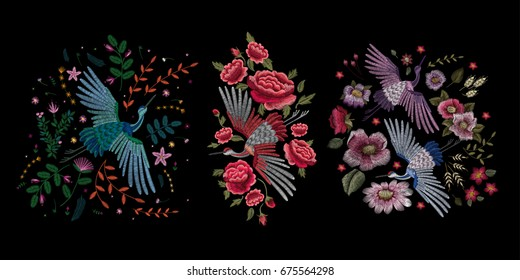 Crane bird, flowers, rose, rosehip, plant. Traditional folk stylish stylish embroidery on the black background. Sketch for printing on clothing, fabric, bag, accessories and design. Vector, trend