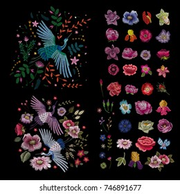 Crane bird, flowers, rose, rose-hip, plant. Traditional folk stylish stylish embroidery on the black background. Sketch for printing on clothing, fabric, bag, accessories and design. Vector, trend