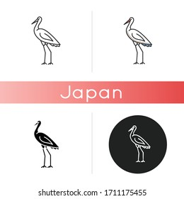 Crane bird icon. Heron standing in pose. Elegant animal in stance. Japanese bird with long neck. Fauna and wildlife. Linear black and RGB color styles. Isolated vector illustrations