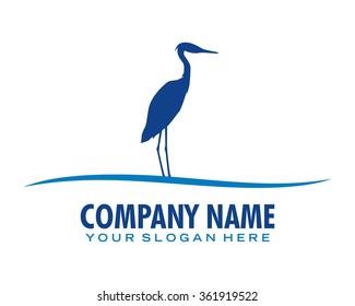 crane bird logo icon vector