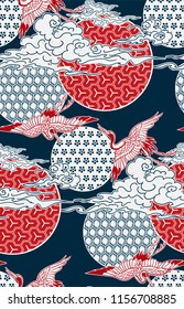 crane birds sky cloud japanese chinese vector design pattern