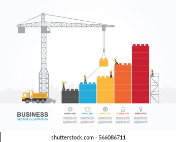 Crane and building block. Infographic Template. Vector Illustration.