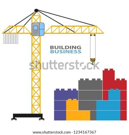 crane building block infographic template crane stock vector