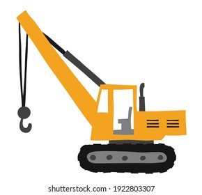 Crane for building construction, business commercial vehicles. The concept of equipment for heavy construction trucks. Dynamic one-line vector illustration drawing design. cartoon