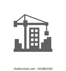 Crane with building icon in trendy flat style isolated on white background. Symbol for your web site design, logo, app, UI. Vector illustration, EPS
