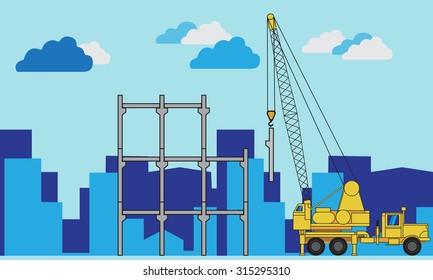 Crane builds house.