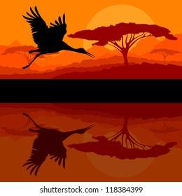 Crane flying in wild mountain nature landscape background illustration vector